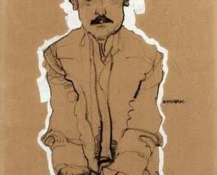 Portrait of Eduard Kosmack, Frontal, with Clasped Hands — Эгон Шиле