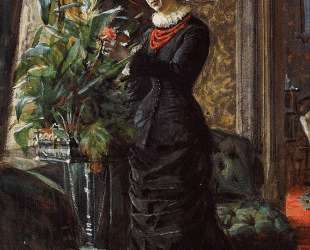Portrait of Fru Lisen Samson, nee Hirsch, Arranging Flowers at a Window — Андерс Цорн