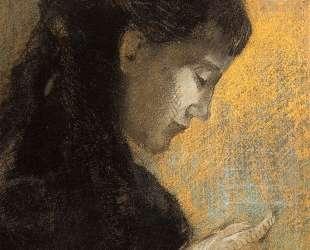 Portrait of Madame Redon Embroidering — Одилон Редон