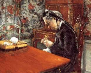 Portrait of Mademoiselle Boissiere Knitting — Гюстав Кайботт
