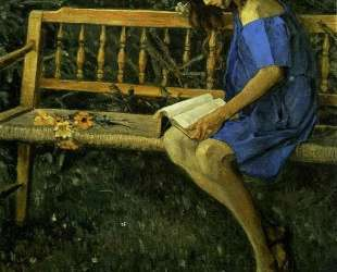 Portrait of Natasha Nesterova (On a Garden Bench) — Михаил Нестеров