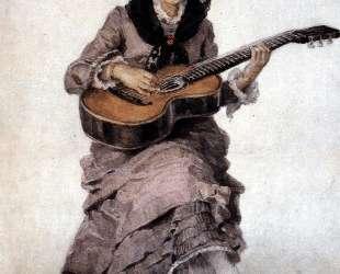 Портрет княгини С. А. Кропоткиной c гитарой — Василий Суриков