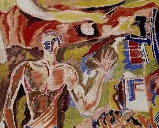 Портрет песнебойца футуриста Василия Каменского — Давид Бурлюк