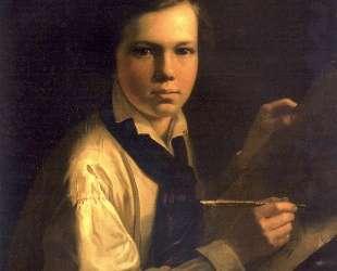 Портрет сына художника за мольбертом — Василий Тропинин