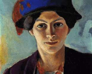 Portrait of the artist's wife with a hat — Август Маке