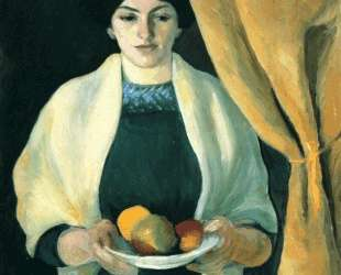 Portrait with apples (Portrait of the Artist's Wife) — Август Маке