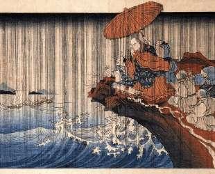 Priest Nichiren praying under the storm — Утагава Куниёси