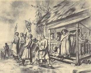 Сельский крестный ход на Пасхе. Эскиз картины — Василий Перов