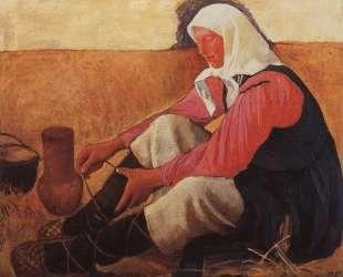 Обувающаяся крестьянка — Зинаида Серебрякова
