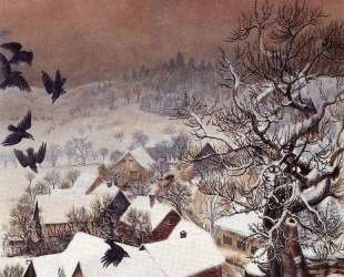 Randegg in the snow with ravens — Отто Дикс