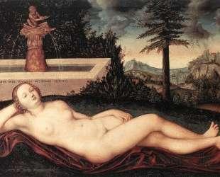 Полулежащая речная нимфа у фонтана — Лукас Кранах Старший