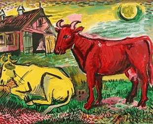 Красная и желтая коровы — Давид Бурлюк