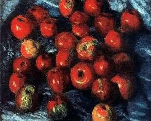 Красные яблоки на синей скатерти — Игорь Грабарь