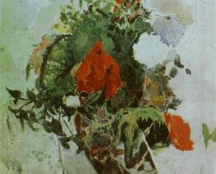 Red Flowers and Leaves of Begonia in a Basket — Михаил Врубель