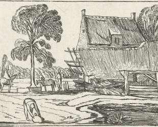 Riding on the road next to a farm — Эсайас ван де Вельде