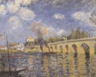 River steamboat and bridge — Альфред Сислей
