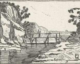 Rocky Landscape with road along river — Эсайас ван де Вельде