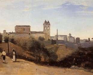 Рим, Тринита-деи-Монти. Вид из садов Французской академии — Камиль Коро