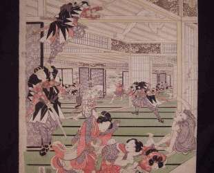 Ronins attack on the house of lord Kira (left panel of a triptych) — Утагава Кунисада