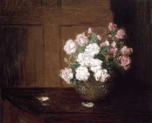 Roses in a Silver Bowl on a Mahogany Table — Джулиан Олден Вейр