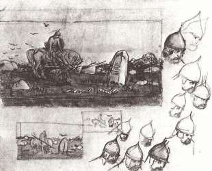 Rough sketches for the painting on 'A knights at the crossroad' — Виктор Васнецов