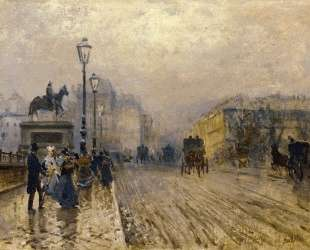 Rue de Paris with Carriages — Джузеппе Де Ниттис