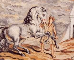 Сбежавшая лошадь с конюхом и павильон — Джорджо де Кирико