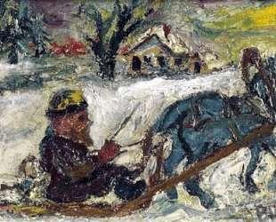 Русский мужик в конных санях — Давид Бурлюк