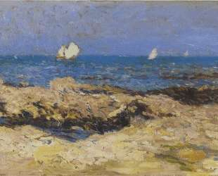 Sailboats near the coast — Анри Мартен