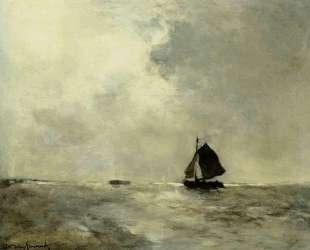 Sailing Boat in Choppy Seas — Иохан Хендрик Вейсенбрух