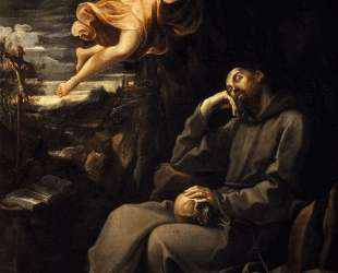 Saint Francis deadened with an angel musician — Гвидо Рени
