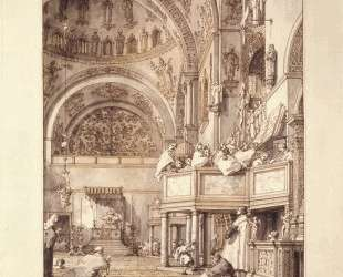 San Marco: the Crossing and North Transept, with Musicians Singing — Каналетто