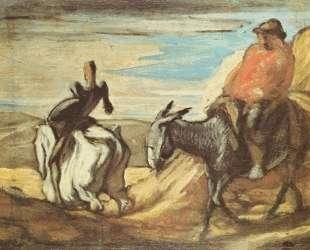 Санчо Панса и Дон Кихот в горах — Оноре Домье