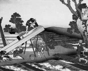 Sawyers Cutting a Log — Кацусика Хокусай