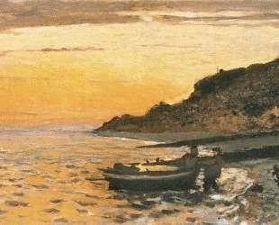 Морское побережье в Сент-Адрес, закат — Клод Моне