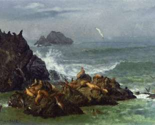 Seal Rocks, Pacific Ocean, California — Альберт Бирштадт