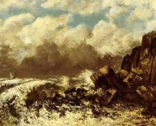 Морской пейзаж в Этрета — Гюстав Курбе