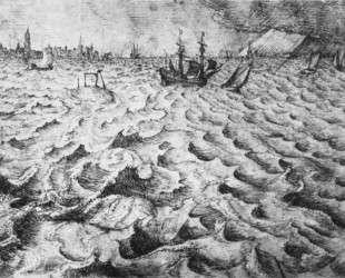 Морской пейзаж с видом на Антверпен — Питер Брейгель Старший