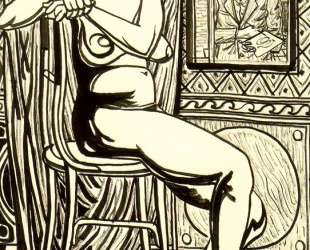 Seated female nude and artist's self-portrait — Рафаэль Забалета