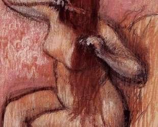 Сидящая обнаженная расчесывает волосы — Эдгар Дега