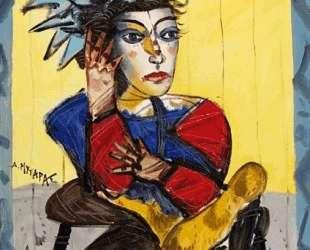 Seated woman in black boots — Димитрис Митарас