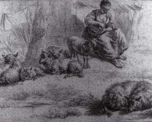 Seated Woman with a Basket and Livestock — Адриан ван де Вельде