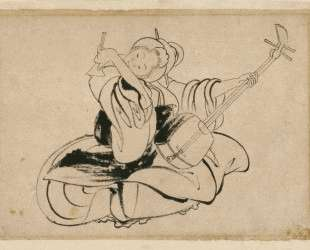 Seated Woman with Shamisen — Кацусика Хокусай