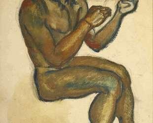 Сидящий юноша (эскиз к картине 'Отец Время') — Давид Бурлюк