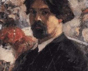 Автопортрет на фоне картины 'Покорение Сибири Ермаком' — Василий Суриков