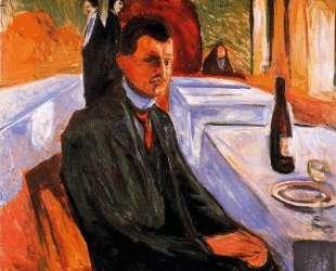 Автопортрет с бутылкой вина — Эдвард Мунк