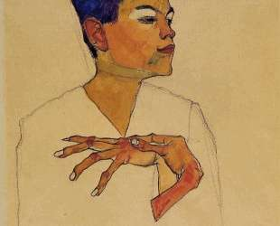 Self Portrait with Hands on Chest — Эгон Шиле