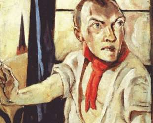 Self-portrait with red scarf — Макс Бекман