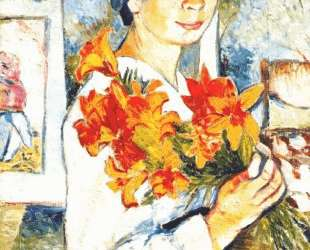 Self-portrait with yellow lilies — Наталья Гончарова