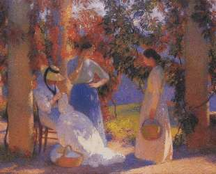 Sewing Scene under the Pergola at Marquayrol — Анри Мартен